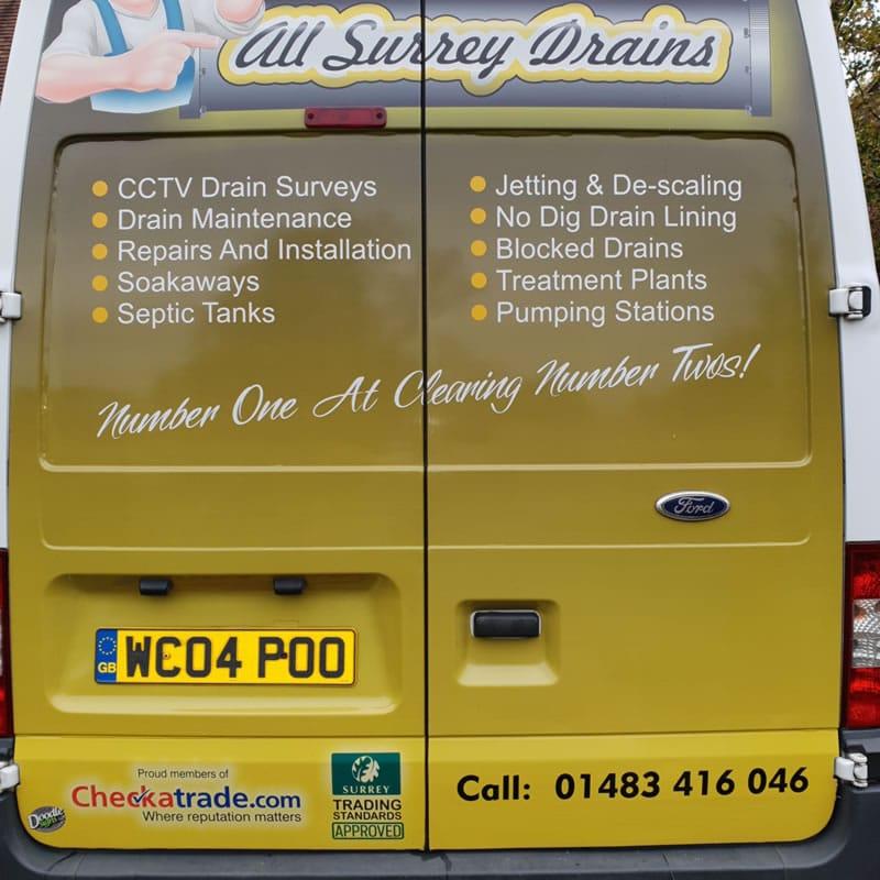 Back of All Surrey Drains van